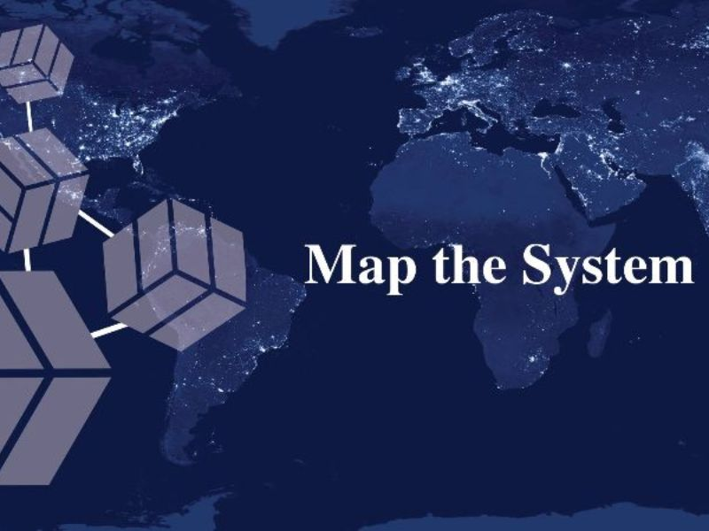 Map the System poster with world map background and abstract cubes in the foreground.