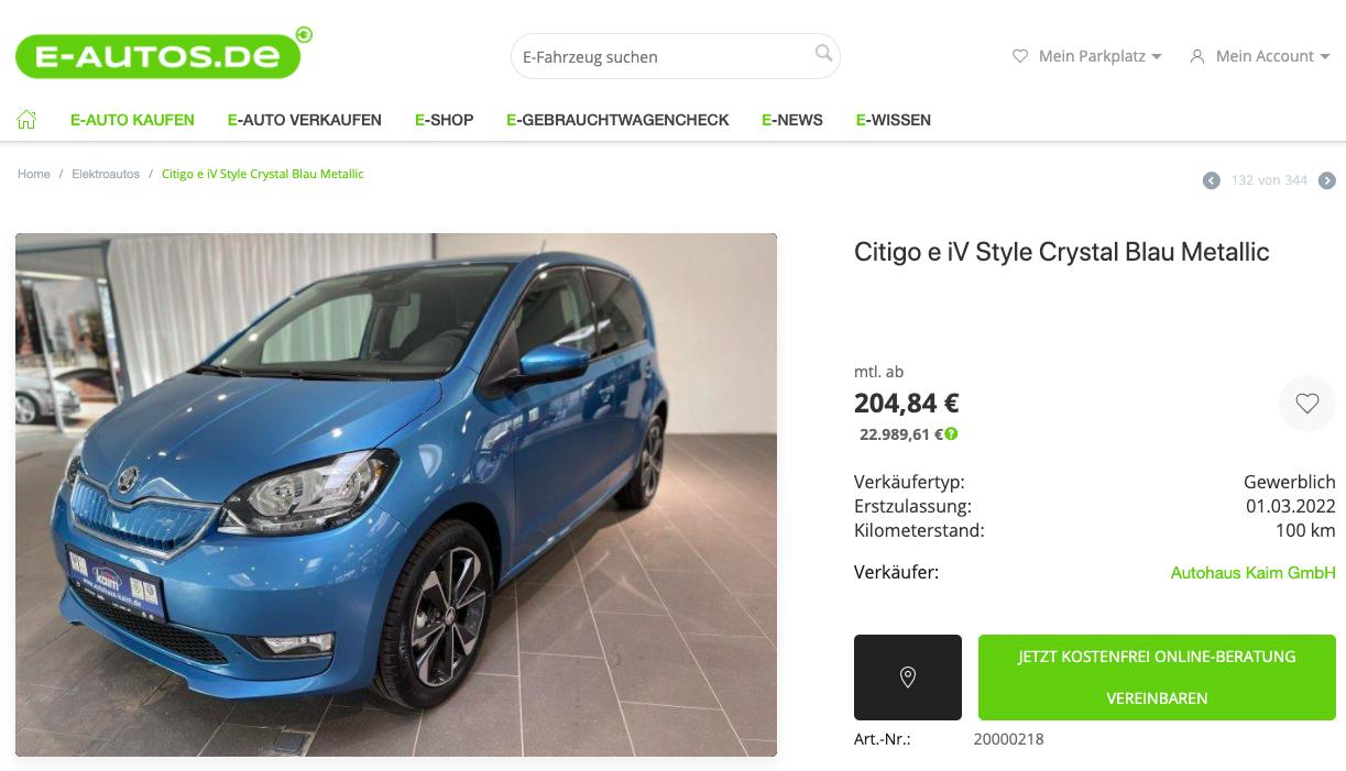 Skoda Citigo bei E-Autos.de