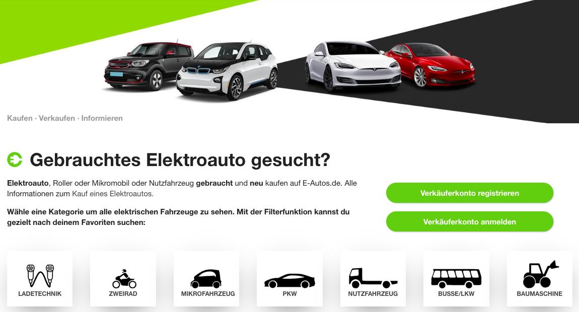 neue Elektroautos bei E-Autos.de im Marktplatz
