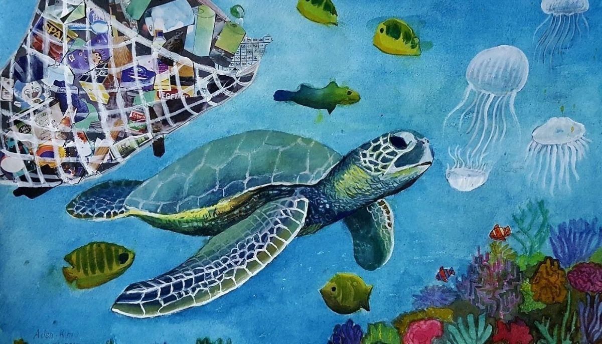 Art work of a turtle swimming around rubbish