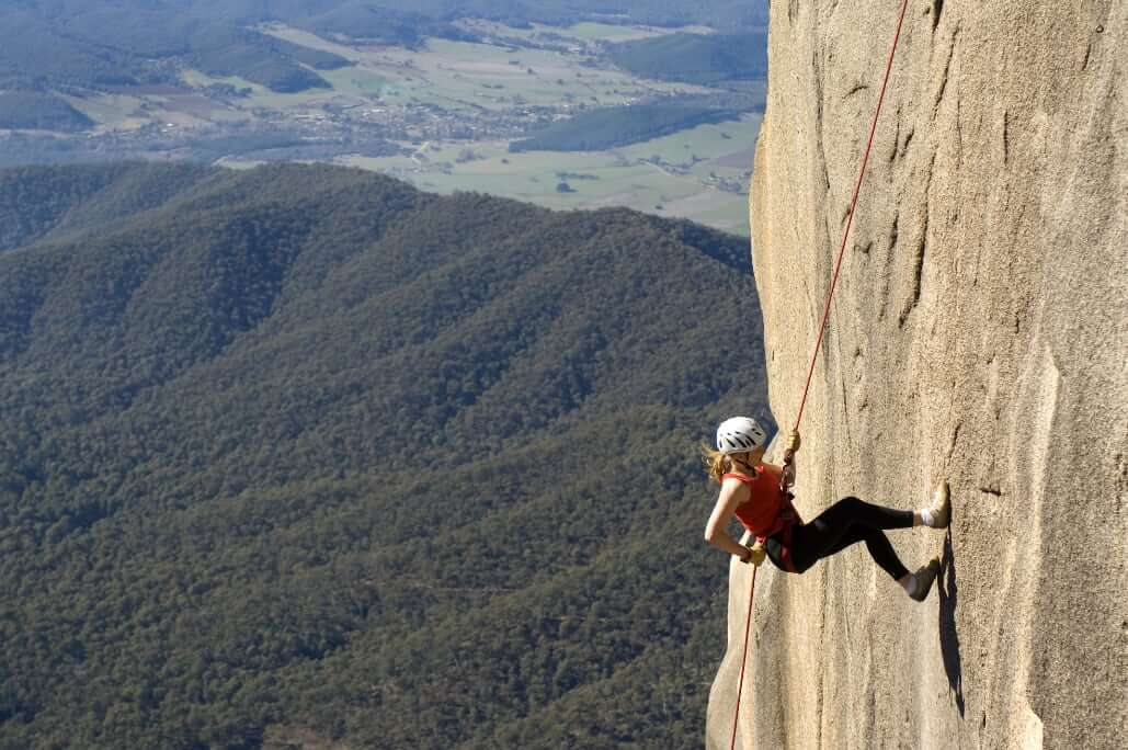 Mt Buffalo climber image supplied by Visit Victoria