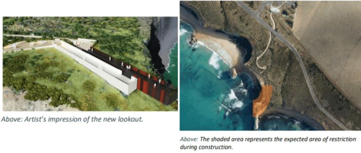 Saddle Lookout project, artist's impression of the new lookout and the expected area of restriction during construction