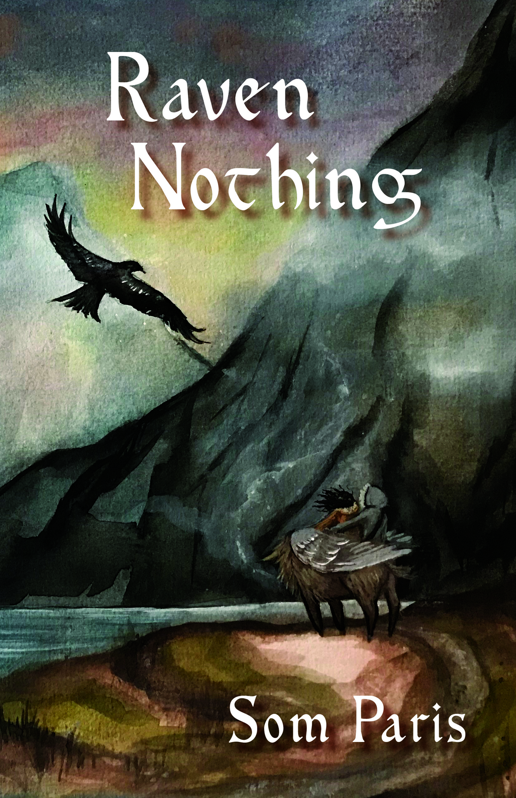 Cover image of Raven Nothing, featuring a flying raven and two kids riding an animal against a mountainous landscape
