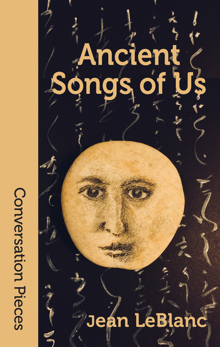 Cover image of Ancient Songs of Us, facing a round, bright, moon-like face against a dark, script-like covered backdrop.