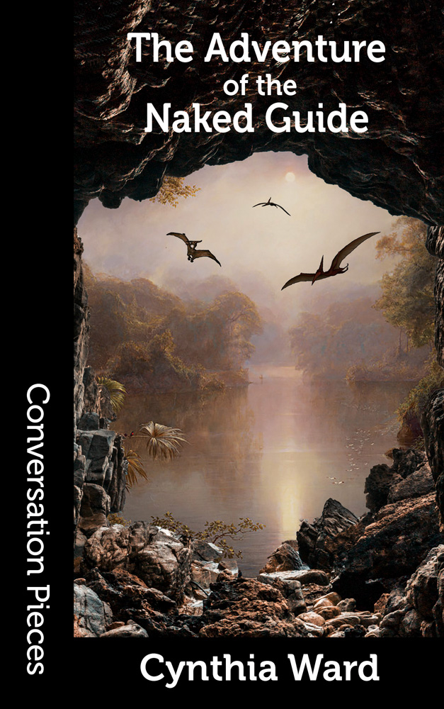 Cover image of The Adventure of the Naked Guide, featuring a view from a cave on a lake over which some pterodactyls are flying.