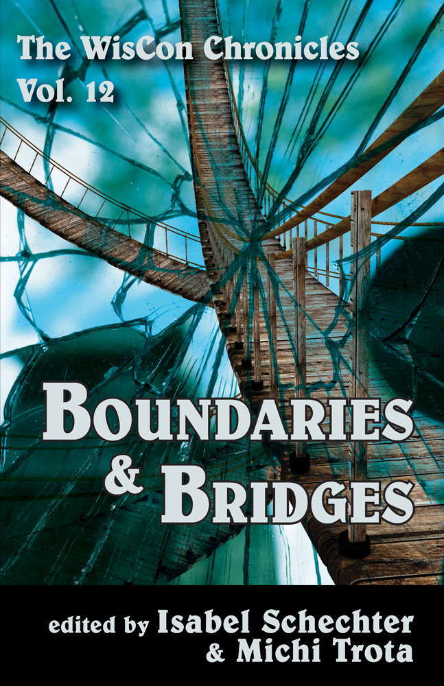 Cover image of The WisCon Chronicles vol 12 featuring a mix of a bridge and a spider's web