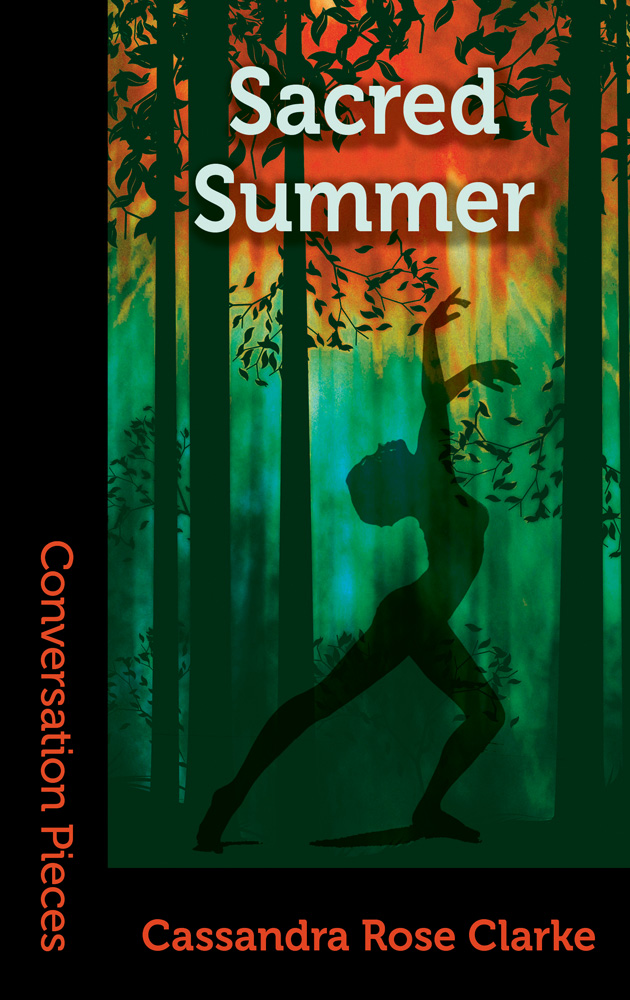 Cover image of Sacred Summer featuring a dancing human silhouette among tree shapes