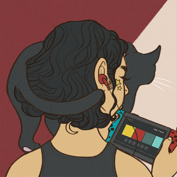 Drawn image of a person from the back with a 3/4 angle view from the back. They have black curly hair and a black cat stands on their shoulder. They have red headphones and are playing a Nintendo Switch. They have stars on their cheeks and a moon on the back of their neck. They're wearing a black tank top. Credit: https://picrew.me/image_maker/262676