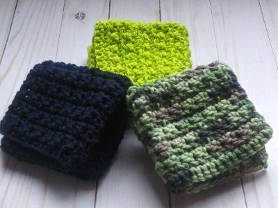 Set of 3 Textured Cotton Handcrafted Washcloths