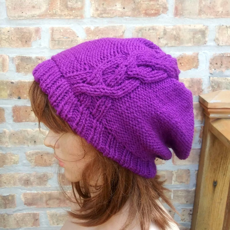 Cable Slouchy Beanie in Aubergine