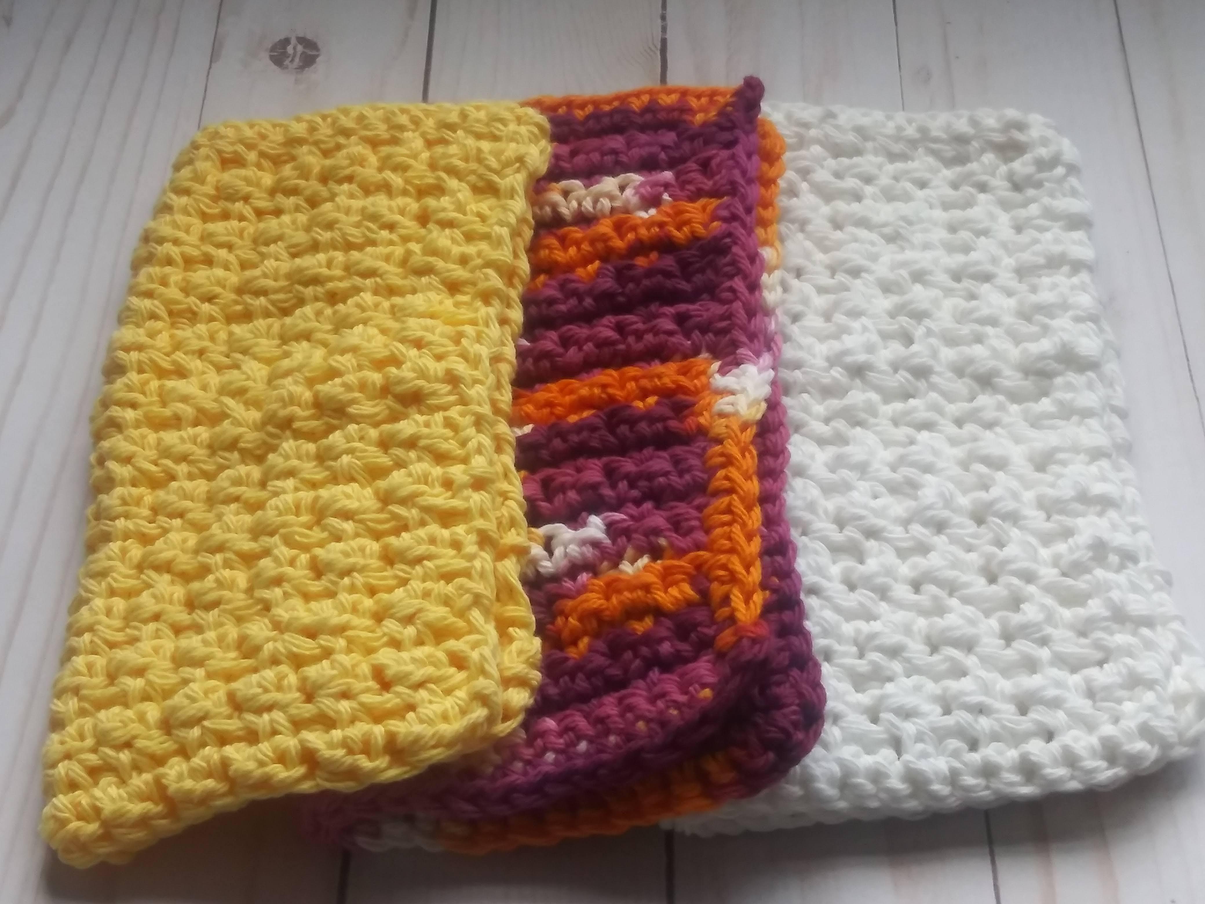 Set of 3 - Textured Washcloths or Dishcloths