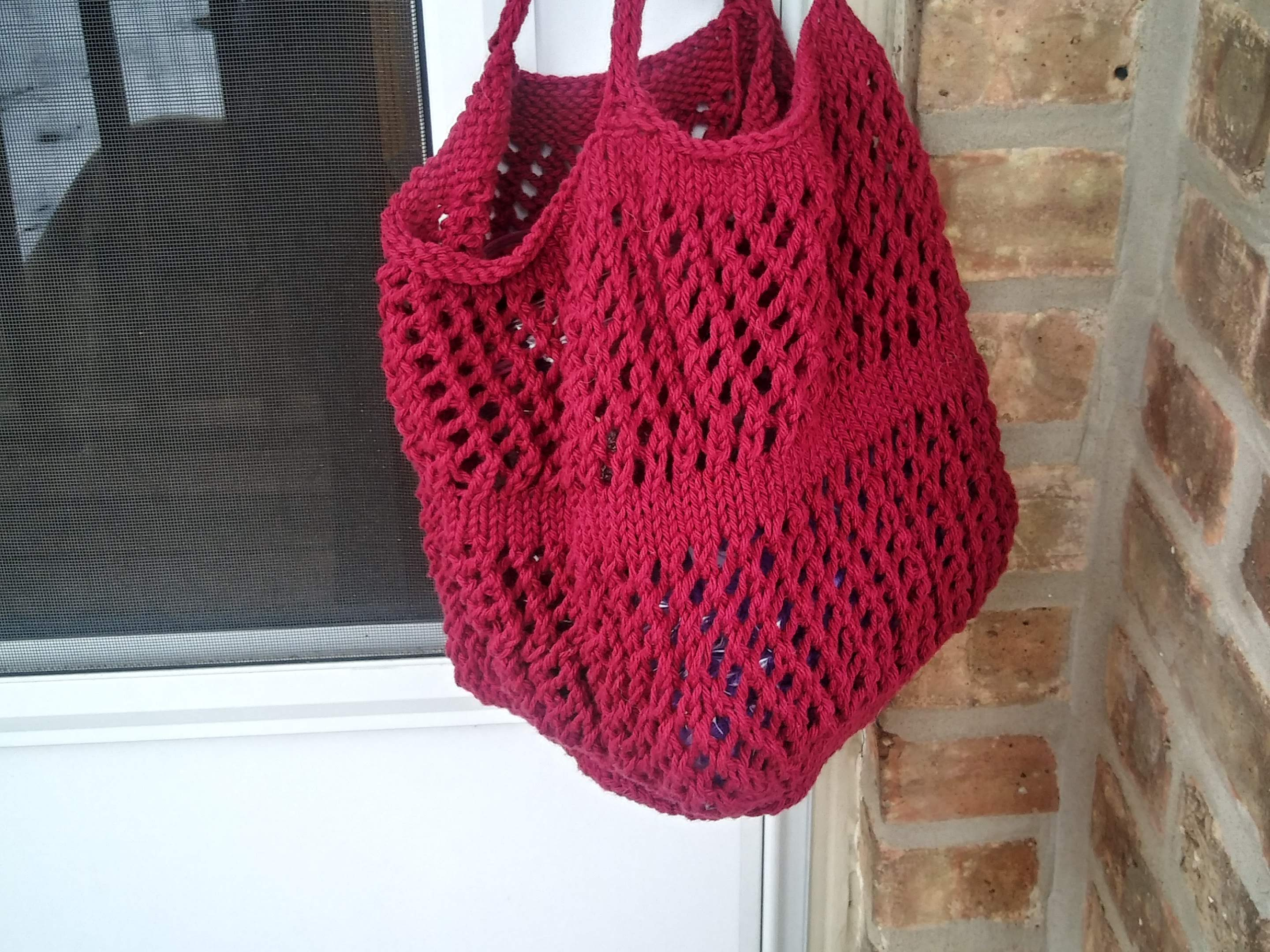 Market and Beach Tote in Wine Cotton