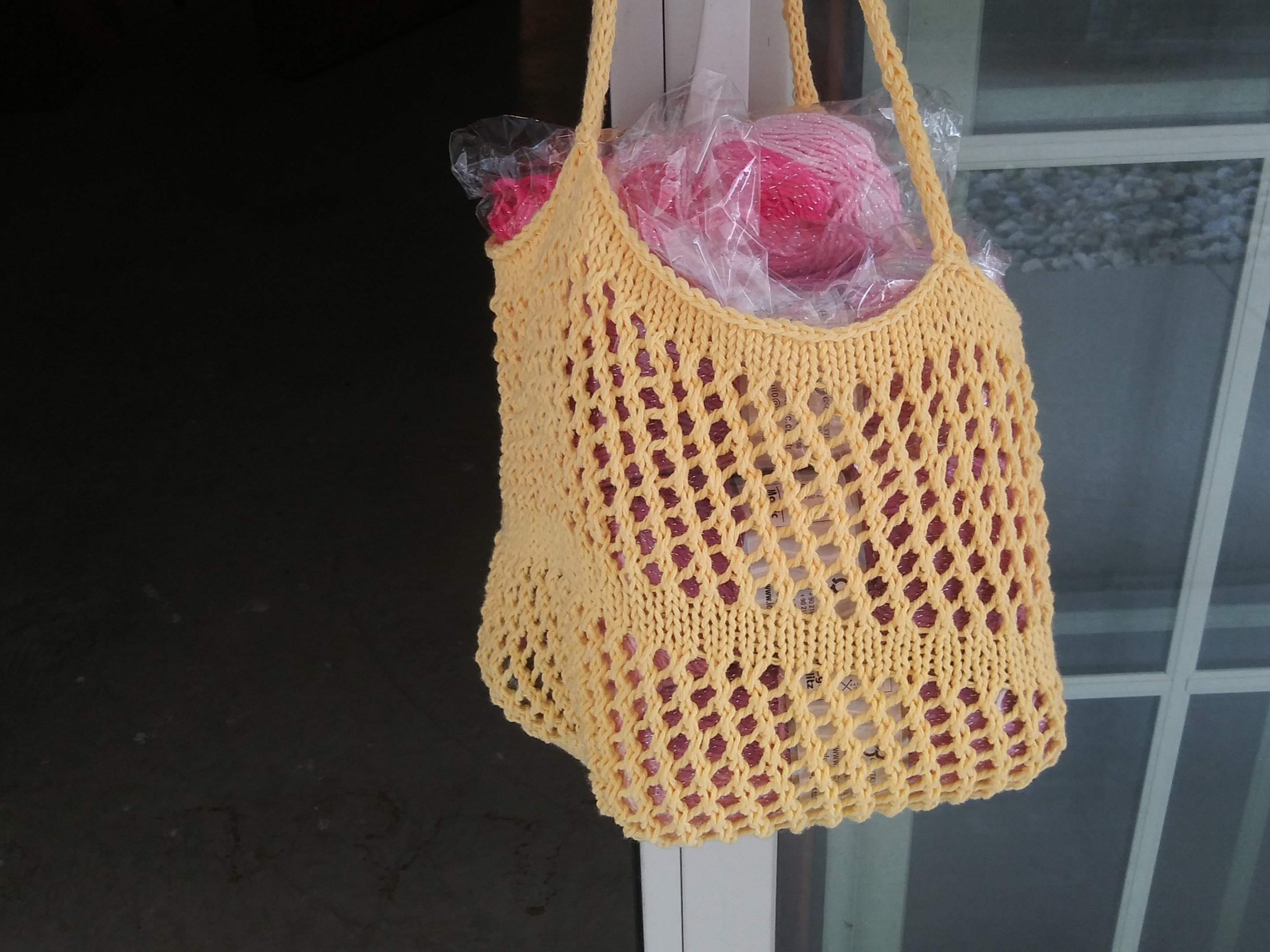Market and Beach Tote in Yellow Cotton