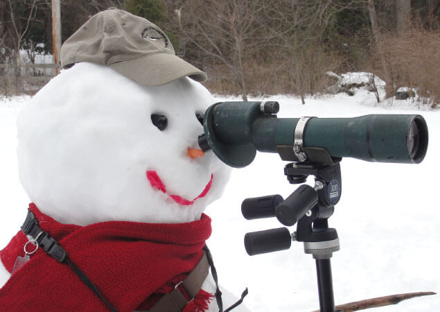 A portrait of a snowman with a spotting scope.