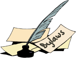 Image of pen and paper with bylaws written on it