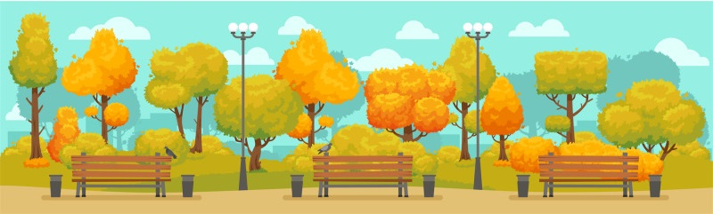illustration with trees and benches