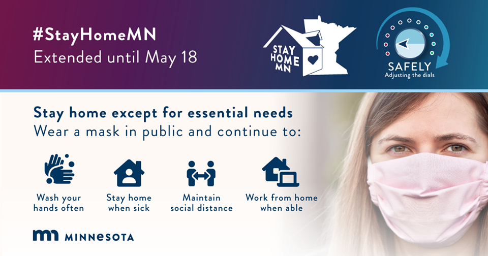 Image of#StayHomeMN, woman wearing a mask, and healthy practices during COVID