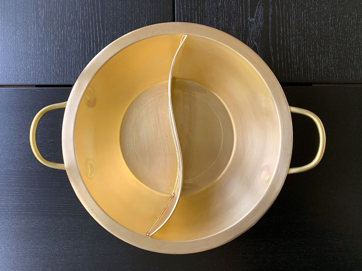 Brass yin yang hot pot