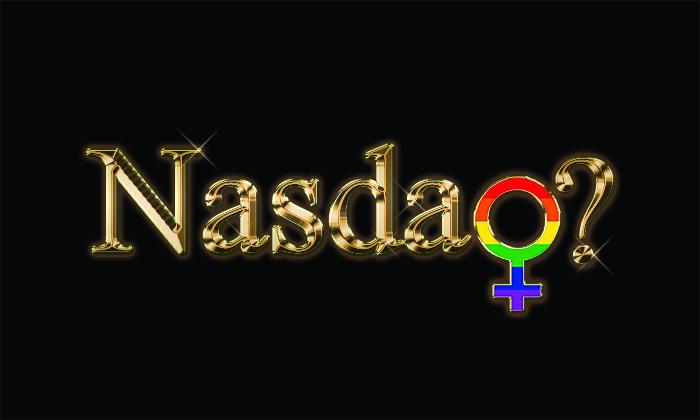 Nasdaq written in gold with LGBTQ symbol