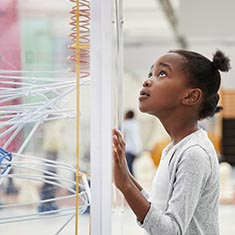 A student looks at a STEM display.