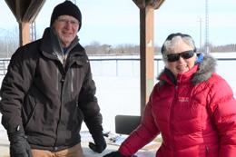 Volunteers at free family snowshoeing.