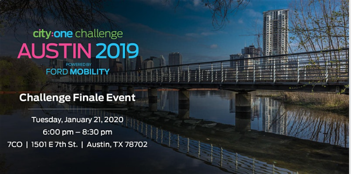 An invitation to the City:One Challenge finale event powered by Ford Mobility taking place at 7CO located at 1501 E. 7th St. from 6-8:30 p.m. on Tuesday, January 21.