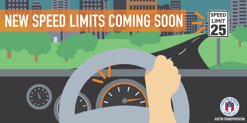 """Visual of a person driving and a 55mph speed limit sign highlighted with the text """"new speed limits coming soon"""""""
