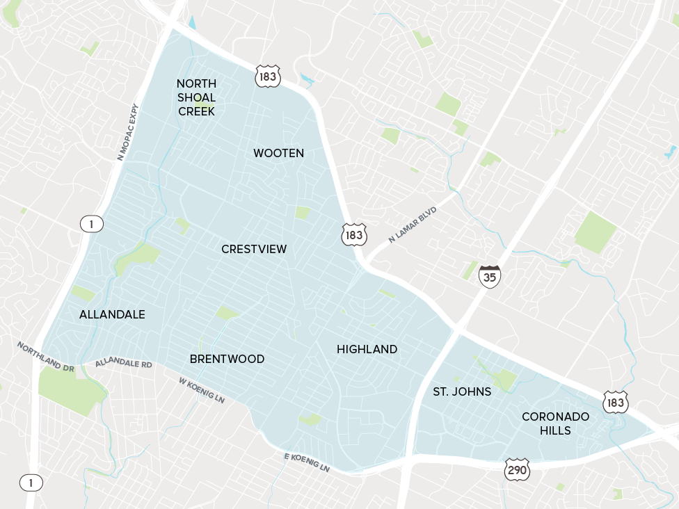 A map of North Austin indicating the Allandale, Brentwood, Coronado Hills, Crestview, Highland, North SHoal Creek, St. Johns and Wooten neighborhoods.