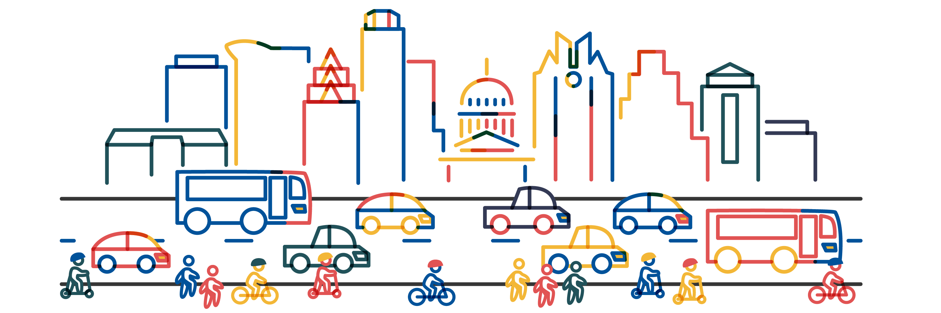 Red, yellow and blue icons of the Austin skyline with people traveling by bicycles, scooter and on foot on the sidewalk and cars, trucks and buses traveling along the roadway