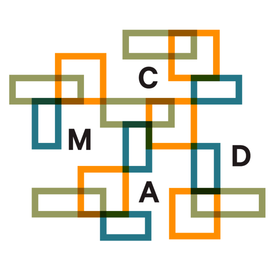 "Logo of the Columbus Museum of Art & Design, orange, turquoise and green rectangles and the letters ""C,"" ""M,"" ""A,"" ""D"""