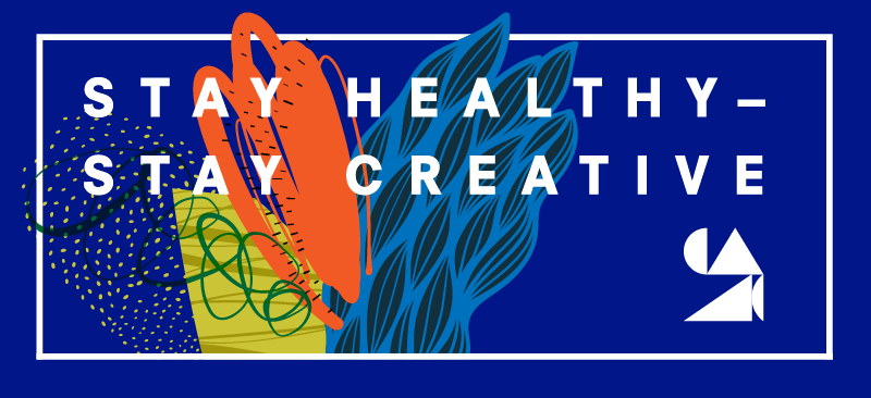 "Graphic with abstract floral imagery on a dark blue background and the words ""Columbus, Stay Healthy–Stay Creative"" and at the bottom the logo for the Columbus Area Arts Council"