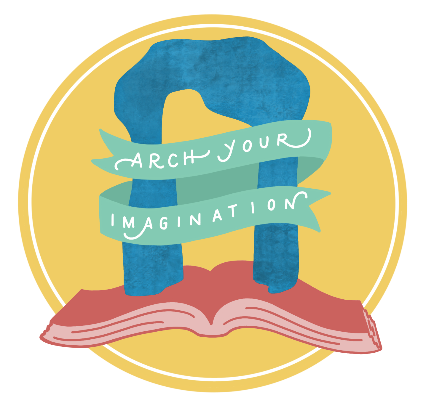 "CAAC badge for BCPL Summer Learning Challenge: A yellow circle background, a pink book open at the bottom with a graphic of ""Large Arch"" by Henry Moore on top, encircled with a green banner saying ""Arch Your Imagination"""