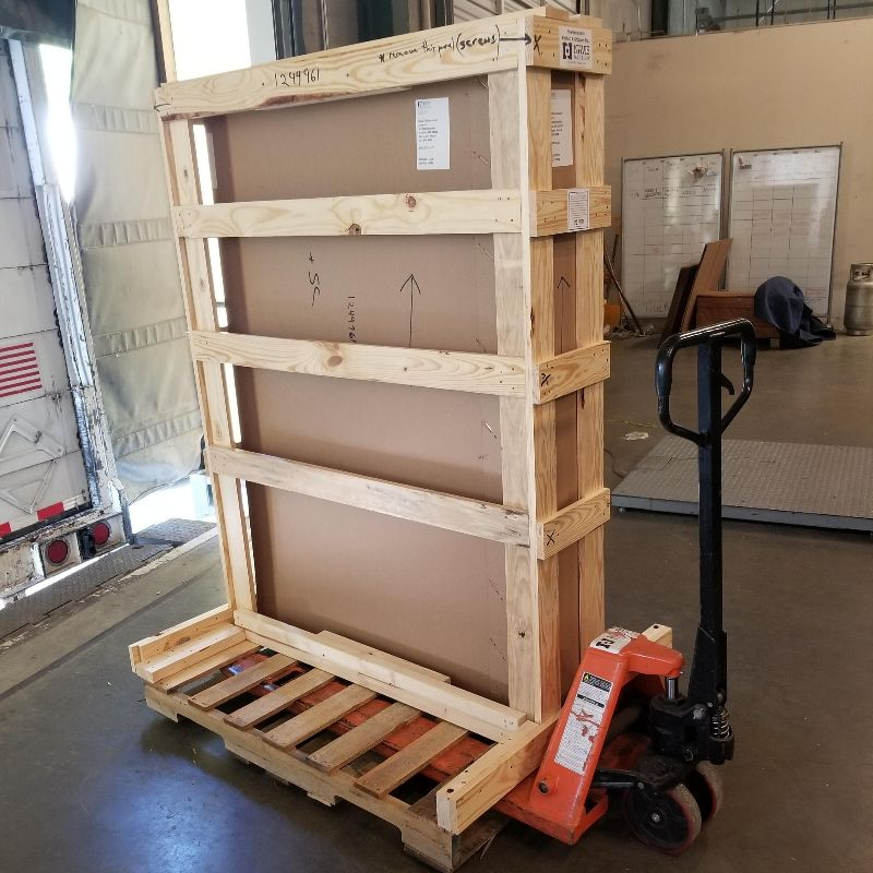 a shipping crate on a pallet