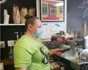 Photo: Ashley at Zeke's Coffee..