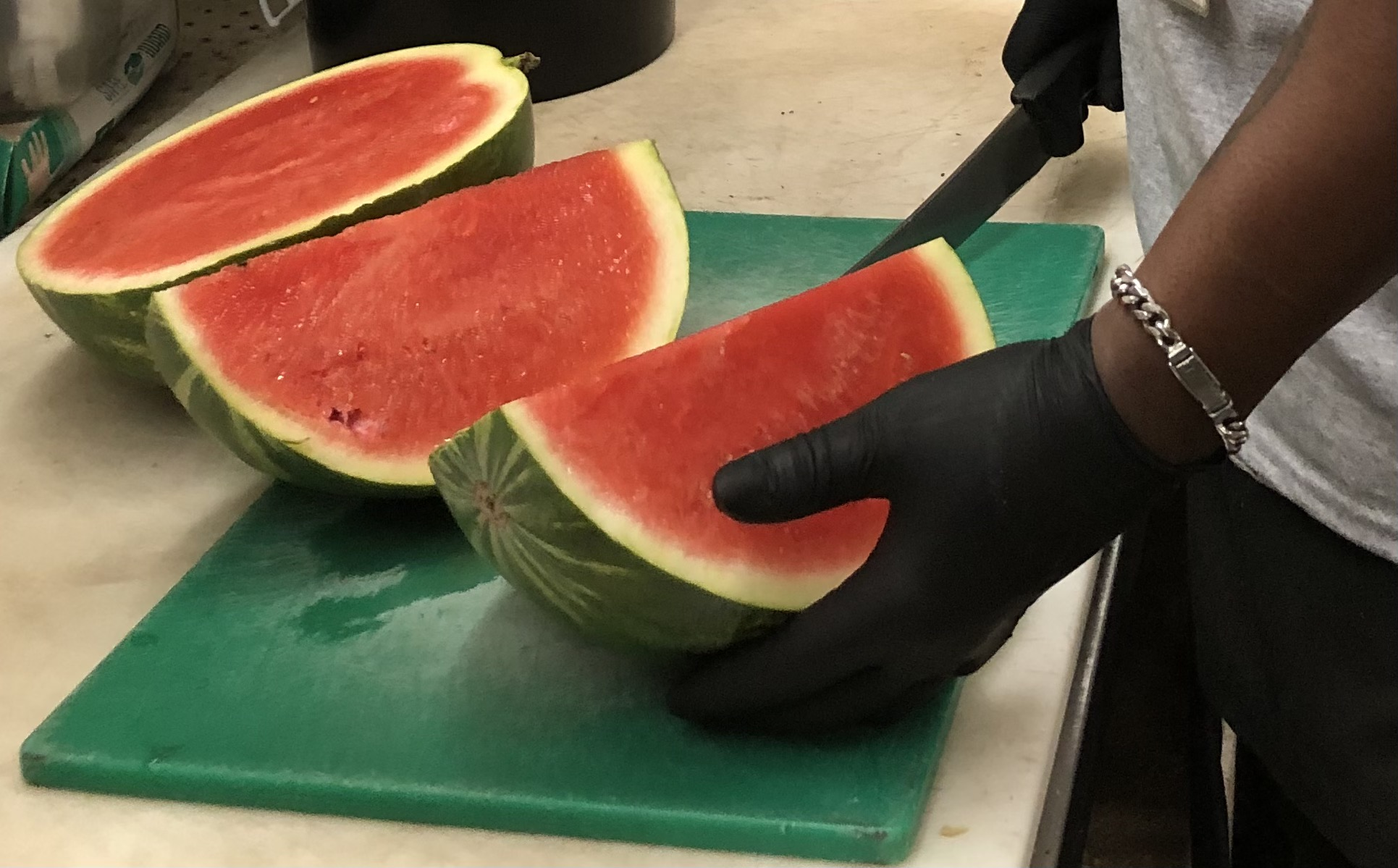 Photo: Teddy Slicing Watermelon.