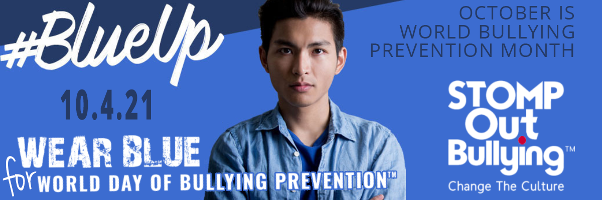 #Blue Up Image for World Bullying Prevention Month