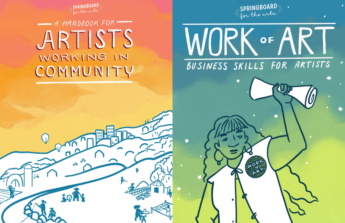 Illustrated graphic covers for the Handbook for Artists Working in Community and Work of Art: Business Skills for Artists