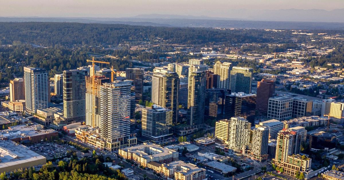 wide aerial image of Bellevue, WA