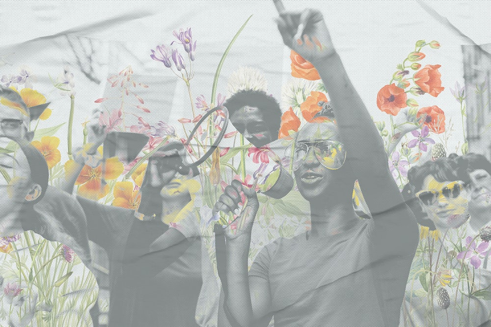 Person with a megaphone and a crowd behind them, flowers and colours are overlaying the image