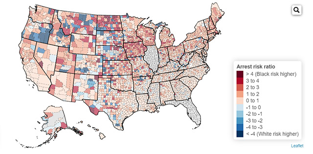 Map of U.S. showing risk of arrest across racial groups