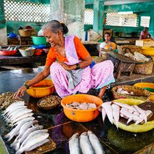 Woman working at a market