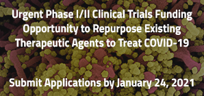 Urgent Phase I/II Clinical Trials Funding Opportunity to Repurpose Existing Therapeutic Agents to Treat COVID-19 Submit Applications by January 24, 2021