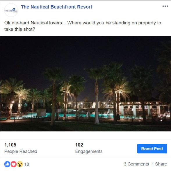 Nautical Beachfront Resort Facebook Page screenshot with a CTA call to action