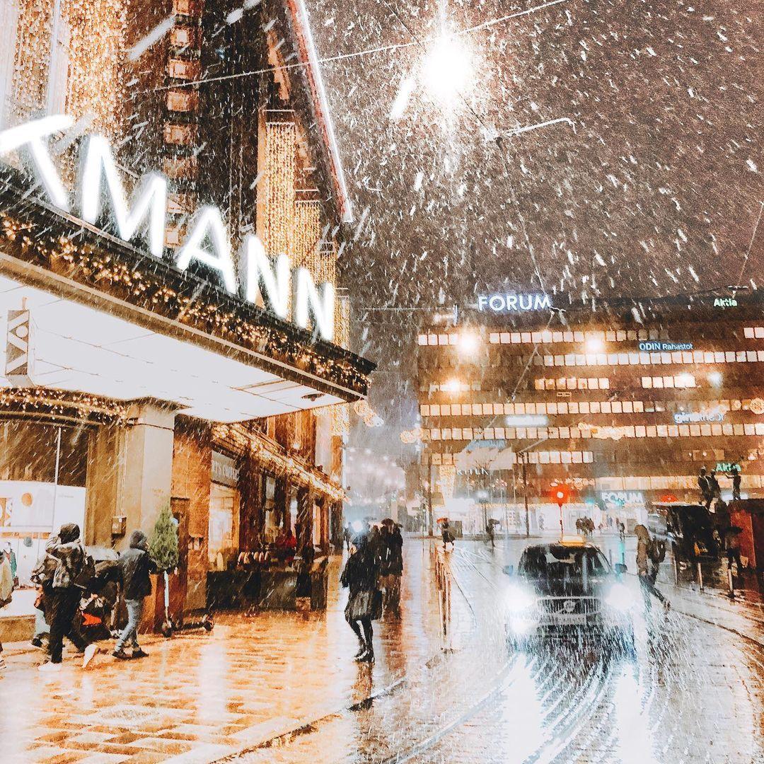 Snowy Christmas scene in Helsinki