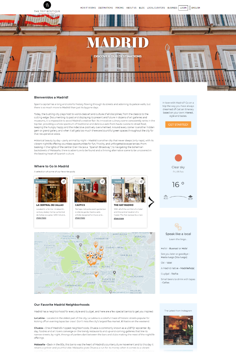 Screen capture of Madrid Welcome page on The Trip Boutique site