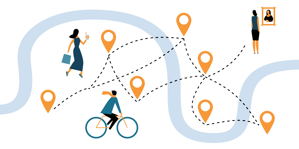 Illustration of cut-out people in different travel locations