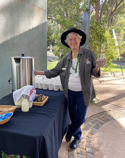 Robyn Black checking the temperature of the urn at the New Members morning tea (photo: Sandra Simpson)