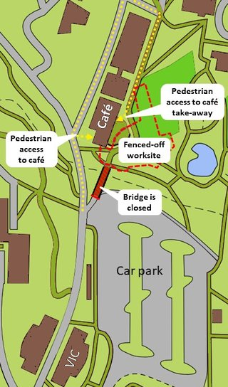 Map showing changed access to Pollen Cafe