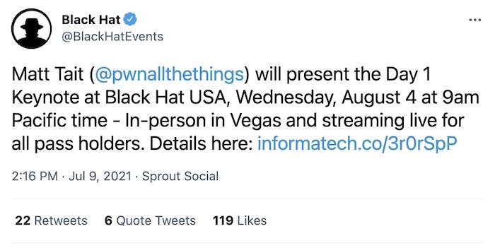A tweet from Black Hat announcing Correllium's Matt Tait as keynote speaker.