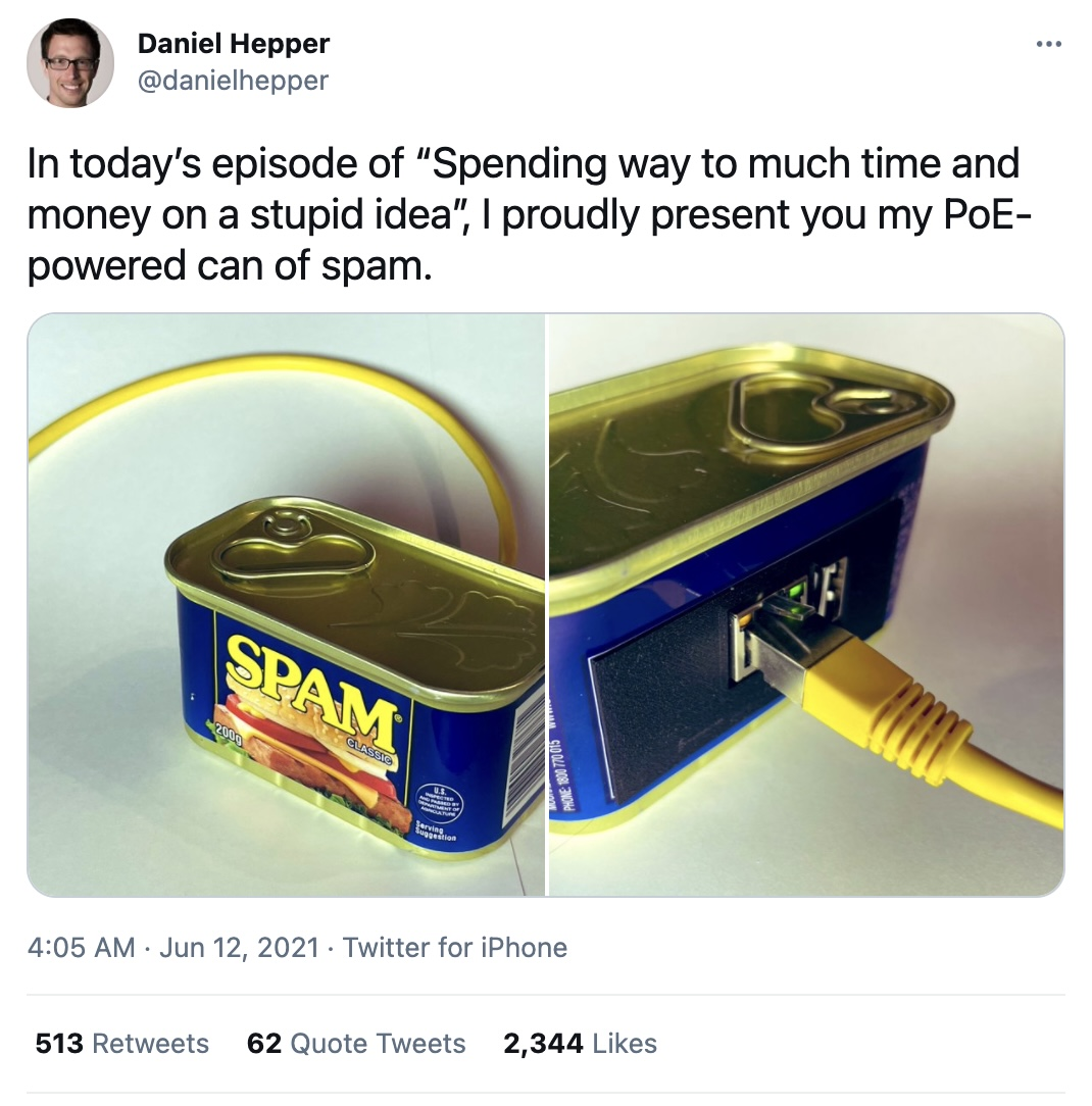 A Raspberry Pi board running Pi-Hole in a traditional Spam meat can.